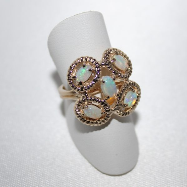 14K Yellow Gold Opal Clover Estate Ring