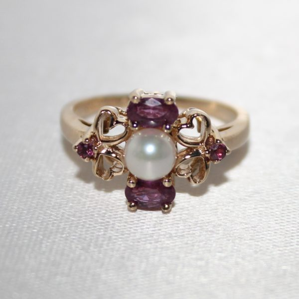 14K Yellow Gold Pearl and Pink Sapphire Estate Ring