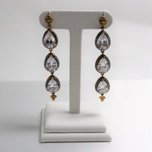 Gold and Silver Freida Rothman CZ Drop Earrings