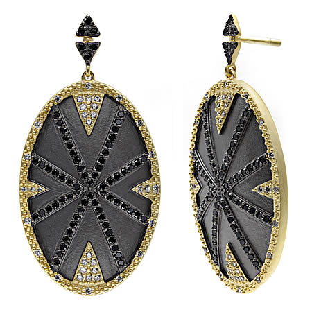 Gold and Sterling Silver Freida Rothman Chandelier Earrings