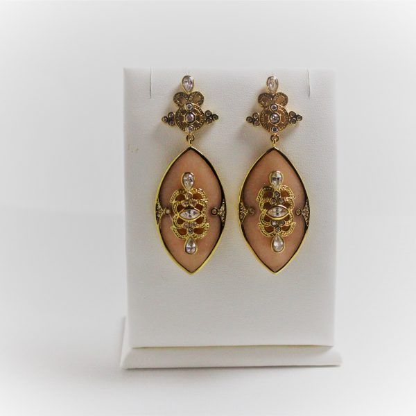 Sterling Silver and 14K Gold Marquise Dangle Earrings