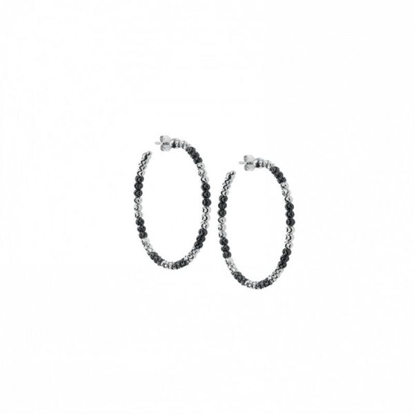 Sterling Silver Officina Bernardi Black and White Hoop Earrings