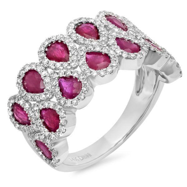 14K White Gold Double Row Ruby and Diamond Band