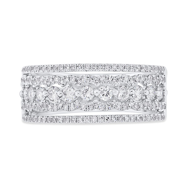 14K White Gold Five Row Diamond Band