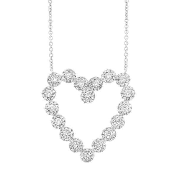 14K White Gold Diamond Halo Heart Necklace