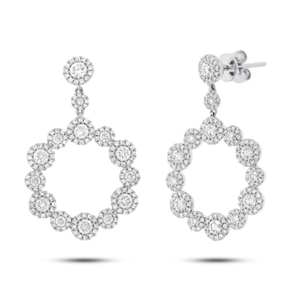 14K White gold Diamond Halo Circle Dangle Earrings