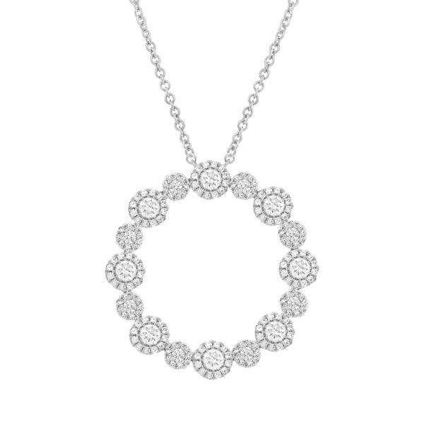 14K White Gold Diamond Halo Eternity Necklace