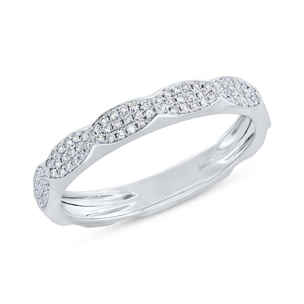 14K White Gold Diamond stackable Pave Band