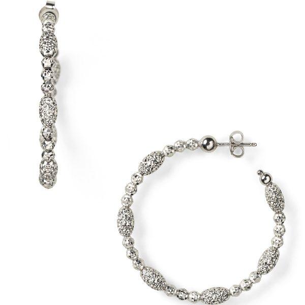 Officina Bernardi Sterling Silver Beaded Hoop Earrings