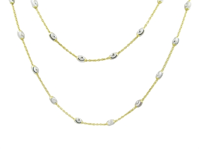 Officina Bernardi Sterling Silver and Yellow Gold Finish Beaded Necklace