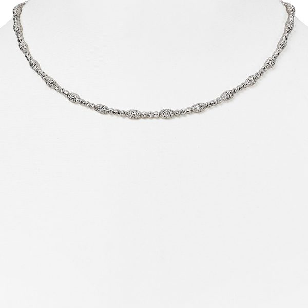 Officina Bernardi Sterling Silver Oval and Round Bead Necklace