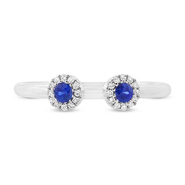 14K White Gold Sapphire and Diamond Cuff Ring