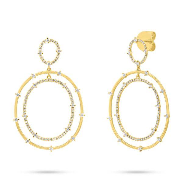 14K Yellow Gold Double Oval Drop Earrings