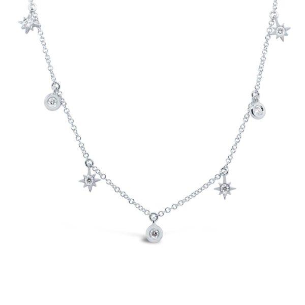 14K White Gold Diamond Multi Star and Bezel Necklace