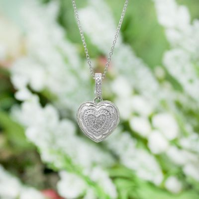 Sterling Silver Heart Rose Locket