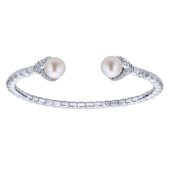Sterling Silver and Steel Cuff Pearl Bangle