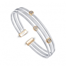 Two-tone Sterling Silver Milano Station Cuff