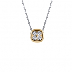 Two-tone Sterling Silver Pave Necklace