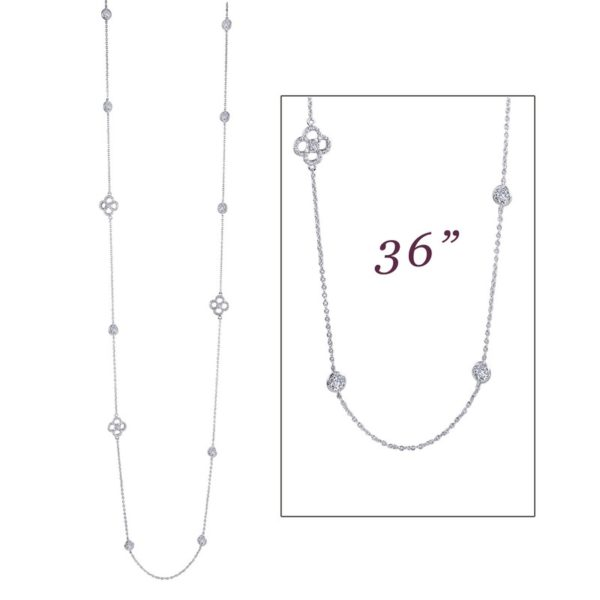 "Sterling Silver 36"" Station Necklace"