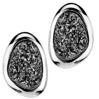 Sterling Silver Button Druzy Quartz Frederick Duclos Earrings