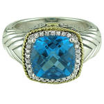 Sterling Silver and 18K Yellow Gold Andrea Candela Topaz Ring